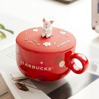 350ml Schwein Starbucks Cups Keramik Niedliche kleine Schwein Kaffee Tasse 2019 Neue Jahre Chinesische Zodiac Little Pig Cup für Geschenk