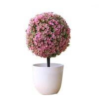 Flores decorativas grinaldas plantas artificiais bonsai plástico simulação árvore de desktop pote folhas falsas jardim planta decor1