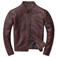 Zvaqs Moteur classique Veste en cuir véritable Hommes Européen Brown Black Cowhide Coating Coat Manteau Street Biker Mans Manteau 4XL 68 PPH8751