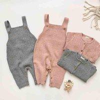 Giyim Setleri Bebek Erkek Kız Tulum Örgü Ceket Takım Elbise Sonbahar Çocuk Bebek Giysileri Örme Büküm Hırka Kazak Tulum