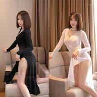 Mujeres atractivas con cuello en V cuello de hielo Seda suave manga larga vestido transparente vestido de corte alto ver a través del club nocturno sexy dance f321
