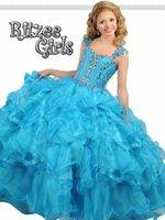 Custom Made Ball Gown Girls Pageant Dresses Sky Blue Organza Sheer Neck Beading Floor Length Sleeveless 2017 Cheap Wedding Flower Girl Dress