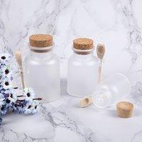 Contenitori di bottiglie cosmetici di plastica smerigliati con tappo di sughero e cucchiaio da bagno maschera sale maschera in polvere crema imbottitura bottiglie di immagazzinare vasetti gwb9014