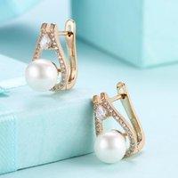 Stud Pearl Zircon Pendientes de gota de agua Plateado de oro Plateado para mujeres Earing Pendiente de joyería Earings de cristal completo Kolczyki
