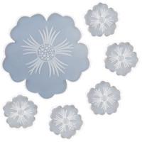 Bandeja de té con traje de molde de placa con forma de flor con forma hecha a mano de cristal epoxi resina silicona moldes blancos bricolaje nuevo patrón 32QZ J2