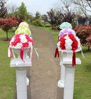 Dekoratif Çiçekler Çelenk Varış Ariticial Ipek Çiçek Öpüşme Topu Ile İnci Şerit Roma Sütun Dahlia Düğün Dekorasyon Için