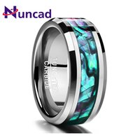 Nuncad New Trend 8mm Inlaid Abalone оболочкой скошенный вольфрамовый карбид кольцо из карбида для свадьбы кольца для свадьбы палец Dropshipping Y1119