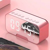 مرآة المنبه الصمام ساعة الرقمية بلوتوث المتكلم مع راديو الصمام مرآة اللاسلكية مضخم صوت مشغل موسيقى الجدول ساعة