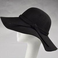 Hiver Automne Woolen Femmes Chapeau Large Brim Fedora Hat Dames Sun Beach Bowknot Capuchon Fashion