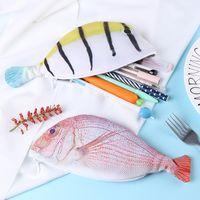شكل الأسماك حقيبة رصاص الإبداعية الألياف البوليستر سعة كبيرة القلم حقيبة طالب القرطاسية قلم رصاص حقيبة الاطفال هدية اللوازم المدرسية