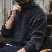 MADEN HOMBRES VINTAGE CALIENTE MOHACIDO MOHAIR TORRTELENCE GREEN GREW MANGO largo suéter con parche de codo