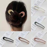 Basit Plastik Saç Sticks Kadınlar Saç Salclip Basitlik Renkli U Şekil Tokalar Saç Sopa Bun Maker Saç Aksesuarları Şapkalar