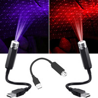 Yeşil Kırmızı Mavi Evrensel USB Gece Işıkları LED Yıldız Projektör Neon Atmosfer Ortam Lamba Araba Çatı İç Işık