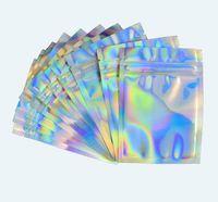 Wiederverschließbare Mylar-Taschen holographische Farbe mehrerer Größe Riesige Beweisbeutel Klarer Reißverschluss Food Candy Storage Packing-Taschen