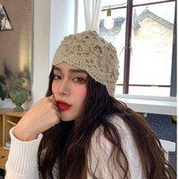 Beanie / Capas de cráneo 202107-Yaoen-Linda gracia Mano tejer pestañas Flor Ocio Lady SkullCap Cap Mujer Headgear Hat