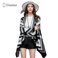 Chaxiaoa novo outono e inverno camisola feminina cardigan lapela irregular lapela longo camisola casaco batwing manga suéteres cardigan x308 201031