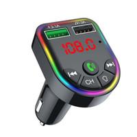 F5 F6 Автомобильное зарядное устройство Bluetooth 5.0 FM-передатчик RGB Atmosphere Light Car Kit MP3 Player Беспроводной Handsree Audio Receiver с розничной коробкой