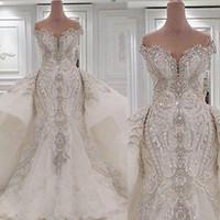 Porträtt sjöjungfru bröllopsklänningar med övervakningar Lace Ruched Sparkle Rhinstone Bridal Gowns Dubai Vestidos de Novia Custom Made