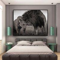 라이온스 머리 흑백 캔버스 아트 페인팅 포스터 및 인쇄 스칸디나비아 큐크 벽 아트 그림 거실 T200118