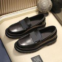Novo B22 Lofers Homens Couro Flats Impressão Mulas Plataforma Sapatos Casuais Sapatos de Couro Genuíno Letra Clássica Black White Sneakers com caixa