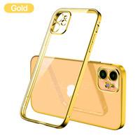 Placage de luxe Crache carrée Transparent Coque Téléphone Coque Coque Iphone 12 11 PRO Max Mini X XS XR 7 8 Plus cas SE Case Soft Silicone Couverture claire