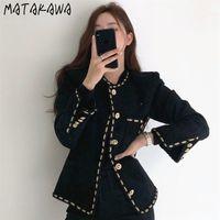 Matakawa Chic Korea Eleganter Retro Rundhals Streifen Einreiher Mantel Lose Taschen Langarm Tweed Kurzjacke Frauen 201021