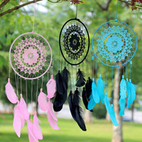 Crochet Lace Flower Wind Chimes Dreamcatcher with Net Feathe...