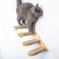 Игрушки для игрушек для кошек настенная подъемная лестница котенок домашняя мебель играет дом деревянные лестницы кадра с сизальной веревкой