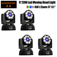 Freeshipping 4 Einheiten 9x20w Zoom Waw Strahl LED Moving Head Light für DJ Stage Disco Event Party Pixel LED Control Color Ring