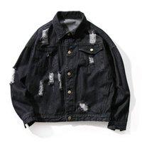 Heren jassen gescheurd Jean Jacket Mens Street Wear Patches Mannen Denim Hip Hop Erkek Mont Patchwork Punk Rock Coat Big Size 5J010