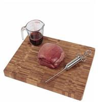 Inyector de condimento marinada de la parrilla 2oz con 3 agujas de acero inoxidable carne de hidromasaje jeringa inyección con pincel de limpieza PPD3397