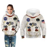 Autunno Spazio invernale NASA Astronauta Astronauta 3D Felpe con cappuccio per Big Boy Girl Felpa Felpa Moda Bambini Stampa Capispalla con cappuccio Capispalla Bambino Casual Top Vestiti