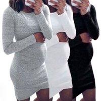 Annelik Giyim Kadın Elbiseler Fotoğraf Giyim Etek Avrupa ve Amerikan Katı Renk Yuvarlak Boyun Kadınlar Hamile Elbise