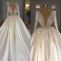 2021 빛나는 터키어 구슬 결정 크리스탈 화이트 새틴 웨딩 드레스 두바이 아랍어 긴 소매 신부 가운 신부 드레스 중동