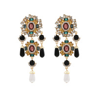 ZA new creative long pearl color drill earrings European and American exaggerated metal flower earrings net red earrings wholesale