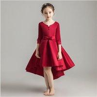 Saten Çiçek Gil Parti Prenses Elbise Gelinlik Kızlar için Kostüm Nedime Noel Elbise İlk Communion Vestidos T200417