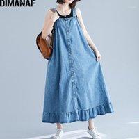 Dimanaf Plus Größe Frauen Kleid Denim Baumwolle Weste Sleeveless Große Größe Lose Weibchen Vestidos Casual Rüschen Basic Kleid 2020 Herbst1