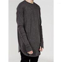 Мужские футболки оптом-хип-хоп уличная одежда Thumb Holect оптом мода бренд футболка мужская осень с длинным рукавом негабаритный дизайн