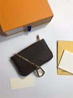 حقيبة كيس أزياء رجالية والنساء حلقة رئيسية بطاقة الائتمان كليب عملة محفظة الفاخرة مصغرة محفظة سحر براون زهرة إلكتروني عملة حقيبة مجانية