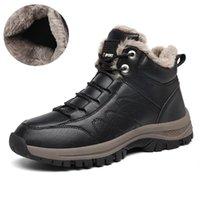 Agsan Hombres Botas de nieve Invierno Botas de tobillo impermeable Zapatos de peluche Zapatos casuales al aire libre Zapatos de encaje hacia arriba Zapatillas de deporte Handmade Handmade Hombres 201119