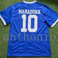 Tops 1986 Argentinas Retro Jersey Jersey Clássico Maradona 10 Caniggia Batistuta 9 Messi Camisa Away Futbol Jerseys Camisa de Futebol Tailandesa Thai Manga Longa Tamanho S-XXL