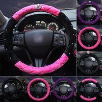 Lüks Elmas Taç Peluş Araba Direksiyon Kapakları Bling Kristal Oto Kolu Kapak İç Araba Aksesuarları Kızlar Kadınlar Için