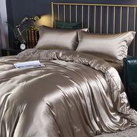 Conjuntos de seda simples de seda 4 unids European Silid Color Mulberry Silk Sated Satin Funda de edredón 1.8m 2m Conjunto de ropa de cama de verano