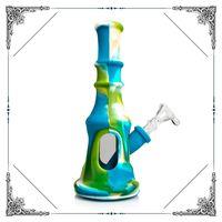 Nouveau Design Silicone coloré Bong 8 pouces Beaker Base Glass Tuyaux d'eau Silicone Fumeurs Bong Mini Bongs Livraison Gratuite