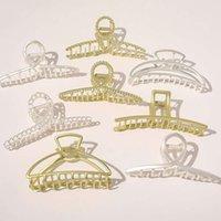 Vintage metal cabello garras oro plata cruz crema forma geométrica horquillas geométricas mujeres baño clip grandes barrettes accesorios para el cabello