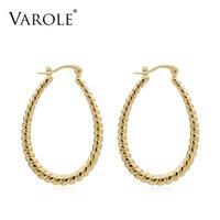 Varle خطوط ملتوية ش شكل هوب أقراط الذهب اللون لطيف هندسية قطرات المياه الأطواق الخواتم الأزياء والمجوهرات للنساء