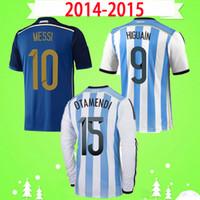 Maradona # 10 ميسي الأرجنتين 2014 2015 الرجعية لكرة القدم جيرسي 14 15 الصفحة الرئيسية بعيدا خمر لكرة القدم قميص كلاسيكي هجوين دي ماريا كون أغويرو