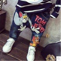 Bebés Meninas New Outono desenhos animados do rato Calças meninos frescos Calça Casual Moda Infantil Jeans para crianças Roupa