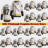 Pittsburgh Penguins 2020-21 Reverse Retro Jersey 87 Sidney Crosby 66 Mario Lemieux 71 Evgeni Malkin 58 Letang 59 Guentzel Hóquei Jerseys