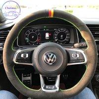 DIY Özel Özel Araba Direksiyon Kapak Volkswagen Golf 7 GTI Golf R MK7 VW Polo GTI El Dikiş Süet Deri Tutucu Dekorasyon